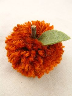 easy crafts apple or pumpkin pompom