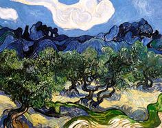 Vincent Van Gogh - Post Impressionism - Saint REMY - Paysage avec des oliviers
