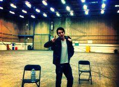 Dominic Sherwood on Vampire Academy: Blood Sisters set.