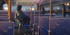 anime, night city, woman, lonely woman, bus, night bus, 2d animation, cartoon, cartoon gifs