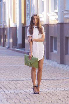 long white shirt, porltfolio clutch, Fashion Agony blog
