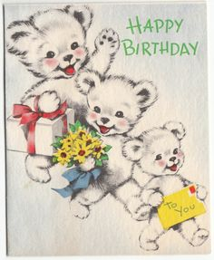 Vintage Three White Bears Birthday Greeting Card