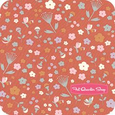 Yay!+Day!+Organic+Coral+Pretty+Floral+Yardage+SKU#+EI-08