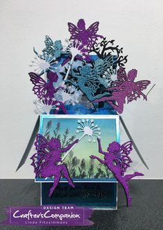 Created by Linda Fitzsimmons for Crafter's Companion using Sara Signature Enchanted Forest Collection - Frolicking Fairies Dies Crafters Companion Christmas Cards, Fairy Box, Exploding Box Card, Craftwork Cards, Pop Up Box Cards, Anna Griffin Cards, Shaped Cards, Fun Fold Cards, Creative Cards