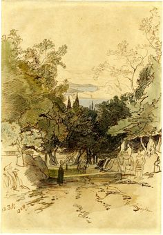 A view in Corfu; road descending in centre with groves to l and r, figures standing to r, leading down to orchard or wooded slope with trees beyond and glimpse of sea and distant coast in centre. 1858 Pen and brown ink with watercolour and graphite