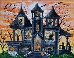 This is a very unique, one of a kind, haunted house PRINT from a series of Haunted Houses that Ron will be offering this Halloween season. Description from etsy.com. I searched for this on bing.com/images