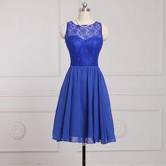 Blue Chiffon A-Line Bridesmaid Dress With Lace Zipper Back