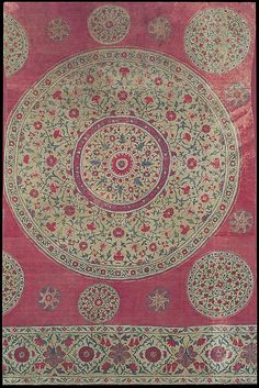1700-40. Panel of a Tent Lining found in an Ottoman tent in Bulgaria. Islamic Kalamkari style from Burhanpur, a center for dyed textiles in the 18th C. But different from other Deccani textiles such as palampores made for the European market and sarongs traded to S.E, Asia. Cotton Plain weave, mordant-painted and dyed. northern Deccan, India.
