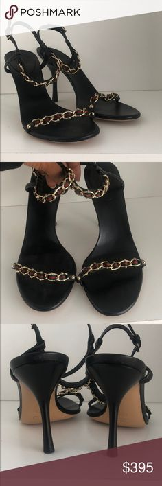 22e745d28e26 Gucci Ribbon Chainlink Ankle Strap Sandals Black leather Gucci Red and  Green ribbon with gold chain link ankle strap high heeled Sandals. Gently  used.