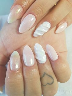 Unicorn acrylic nails glitter white pink shiny nude almond long short design nail art finger tattoo smashing