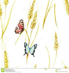 Butterfly and wheat pattern
