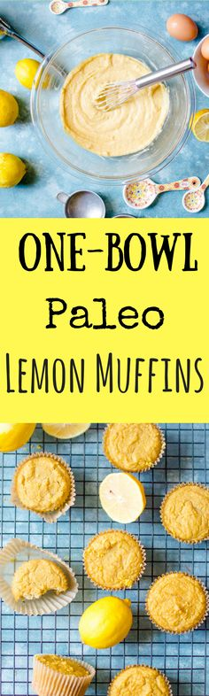 When life give you a bowl of (almost bad) lemons, you make One-Bowl Paleo Lemon Muffins! Perfectly zesty, slightly sweet and bursting with lemon flavor, these One-Bowl Paleo Lemon Muffins are super easy to make in just one bowl! No fuss. Next to no mess.