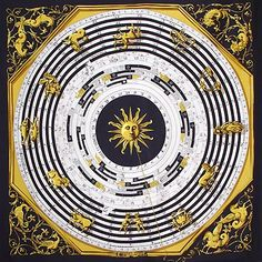 """Hermès """"Astrologie"""" by Francoise Faconnet (original design 1963) YEAR(S) OF ISSUE:1963, 1980, 1986/87, 1988, 1989/90, 1999, 2003 ~ According to the Hermes catalog this pattern """"...is a fascinating interpretation of a 400-year-old celestial charting tool used by ancient astrologers to determine the relative positions of the sun and moon. Modern-day zodiac signs were added by Hermes artists."""""""