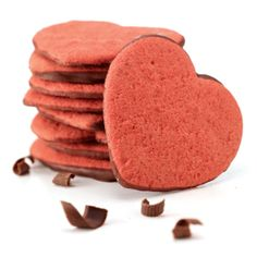 Delicious Chocolate Dipped Moravian Sugar Cookies in festive heart shapes! Available in stores and at Deweys.com.