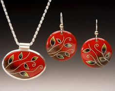 Enameled Oval Pendant and Round Earrings with by JamersonStudios