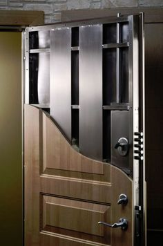 Security Door Installation in NYC by Paragon Security & Lock.- Security Door Installation in NYC by Paragon Security & Locksmith Replacing a building door? Building a new home? There is a lot to consider when you select your doors. Safe Door, Safe Room Doors, Gun Safe Room, Gun Rooms, Home Security Systems, Security Doors, Security Lock, House Security, Hidden Rooms