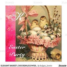 ELEGANT BASKET ,CHICKENS,FLOWERS AND EASTER EGGS INVITATION