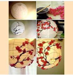 #DIY cherry blossom lantern