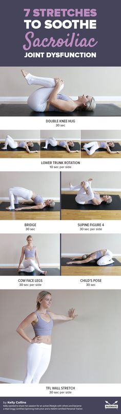 7 Stretches to Soothe Sacroiliac Joint Dysfunction # sacral joint pain Lower Back Pain? Here Are 7 Stretches to Soothe SI Joint Dysfunction Hip Flexor Exercises, Sciatica Exercises, Back Pain Exercises, Stretches, Si Joint Pain, Hip Pain, Natural Cure For Arthritis, Natural Cures, Sacroiliac Joint Dysfunction