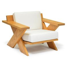 Details : Summit X, Wood Arm chair, White Cushions, Outdoor & Indoor, Lounge Cha… - Pallet Furniture DIY Outdoor Furniture Plans, Wooden Pallet Furniture, Wooden Sofa, Deck Furniture, Woodworking Furniture, Rustic Furniture, Vintage Furniture, Furniture Design, Modern Furniture