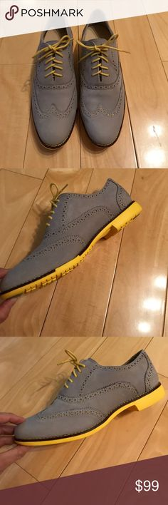 Cole Haan women Oxford shoes Brand new Coke Haan Oxford shoes,  soft and smooth nubuck/suede leather in gray color, contrast with yellow shoe laces and yellow bottom sole, super cute and yet classic. Great in-sole and very comfy, very light. Cole Haan Shoes Athletic Shoes