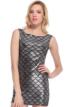 Silver Fish Scales Printed Dress