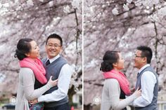 Cherry Blossom engagement shoot by Denise Lin Photography, hair and makeup by Faye Smith Makeup and Hair (Vancouver, BC)