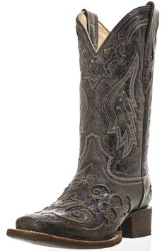 Corral Women's Black Snake Overlay Cowgirl Boots - Largest Corral Boots selection at www.HeadWestOutfitters.com