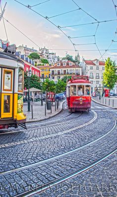Red and yellow trams in Lisbon, the warm and welcoming city in Portugal. /MaritaToftgard