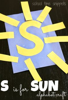 Simple Preschool Alphabet Craft: S is for Sun using construction paper.