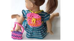 Rainbow Loom AG Doll Backpack / Tote Bag made with Loom bands