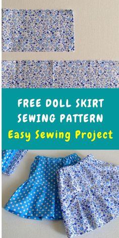 Doll Dress Patterns, Skirt Patterns Sewing, Skirt Sewing, Sewing Patterns Free, Sewing Pants, Free Sewing, Sewing Doll Clothes, Baby Doll Clothes, Sewing Dolls