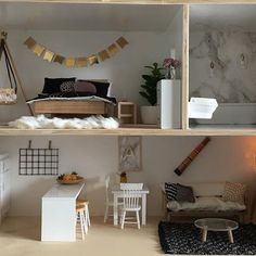 make your own doll furniture. Modern Dollhouse Inspiration, DIY Furniture, Furniture To Buy @pretty_little_minis Www Make Your Own Doll