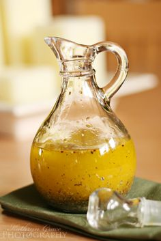 Italian Salad dressing:  Ingredients:  ¼ cup lemon juice  2 tsp. sea salt  2-3 cloves fresh garlic, pressed/minced  1 tsp. dried oregano  1 tsp. dried basil  ¾ cup olive oil    Instructions:  Mix lemon juice, sea salt, garlic, oregano and basil. Gradually whisk in olive oil, until emulsified. If spices settle to the bottom, stir before serving.