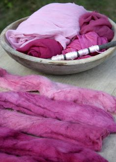 """A collection of merino wool, silk organza, and cotton floss I hand-dyed with lobster mushrooms from our woods."" - interesting, need to look this up - so pretty - natural dye Textile Dyeing, Art Textile, Dyeing Fabric, Dyeing Yarn, Fabric Yarn, How To Dye Fabric, Natural Dye Fabric, Natural Dyeing, Shibori"