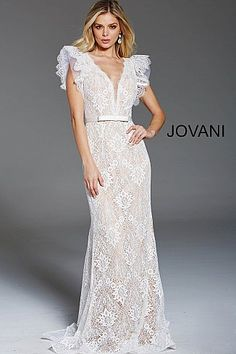 jovani Ivory Nude V Neck Open Back Lace Formal Dress 60314 V Neck Prom Dresses, Modest Dresses, Short Dresses, Formal Dresses, Bride Dresses, Dream Wedding Dresses, Boho Wedding Dress, Mom Dress, Lace Dress