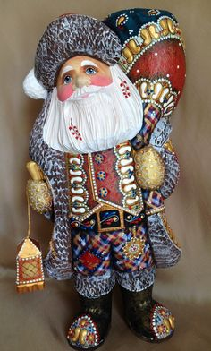 Unique Russian SANTA Wooden Hand Carved Hand Painted SIGNED Father Frost