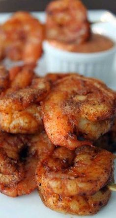 Recipe for Louisiana Cajun Shrimp with Chipolte Mayonnaise - A fiery twist on the Creole classic. These Spicy Louisiana Cajun Shrimp are bursting with flavor, especially when served with a bowl of rich and creamy Chipotle Mayonnaise! Shrimp Recipes For Dinner, Shrimp Recipes Easy, Seafood Dinner, Cajun Recipes, Fish Recipes, Seafood Recipes, Appetizer Recipes, Cooking Recipes, Appetizers