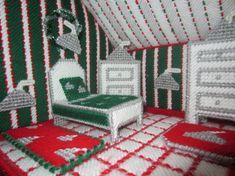 This adorable doll house will surely cure any lil girls sweet tooth with its bright colors and candy cane stripped roof it will keep her imagination busy for hours.. Comes completely furnished in old fashioned furniture .Even a pot belly stove. .the parlor has a floor to ceiling