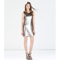 Zara Silver Sequined Dress 🔅SALE🔅 Bright silver sequins on both sides, they even make an awesome noise when you move. I attempted to capture the colors they turn from: silver to grey when you move & depending on the light you're in. Very high quality, fully lined. NWT. FIRM PRICE NO TRADES. Zara Dresses