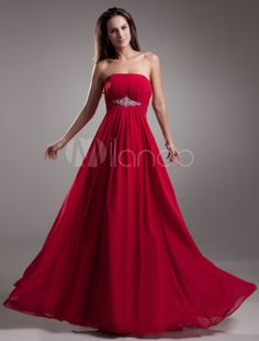 Gorgeous Chiffon Beading Strapless Women's Evening Dress-No.1