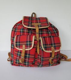 BagSac Red Plaid Backpack by goodvintage on Etsy