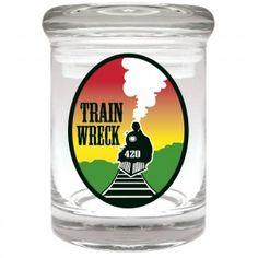 Trainwreck Glass Stash Jar.  Holds Approx. 1/8 oz  Wholesale/Retail  www.thenorcalconnection.com