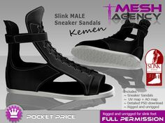 "Second Life Marketplace - SLINK MALE flat Sandal Sneakers ""Kemen"" - FULL PERM POCKET PRICE"
