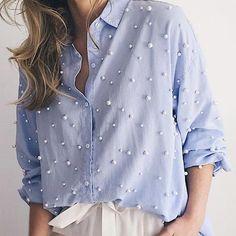 Camisa ejecutivo mujer decorada con perlas - www.mercerialacostura.com