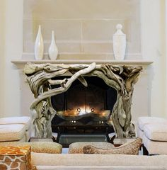 Beautiful mantel created with driftwood pieces.
