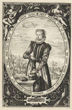 Hendrick Goltzius | Portret van Josina Hamels, Hendrick Goltzius, 1580 | Portret van Josina Hamels (ca. 1560-1630), echtgenote van Jacques de la Faille. Kniestuk, staand achter tafel waarop een boek en doodshoofd. De linkerhand rust op het doodshoofd, in de rechterhand een zakdoek met kwastjes. In ovaal met randschrift. Het ovaal zelf weer in ornamentale omlijsting waarin bovenaan twee dames, een met muziekboek en een met luit. Onderaan twee pauwen. Pendant van portret van echtgenoot Jacques…