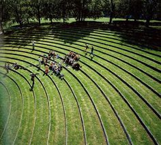 Grass amphitheater for Aarhus University Campus designed by CF Moller