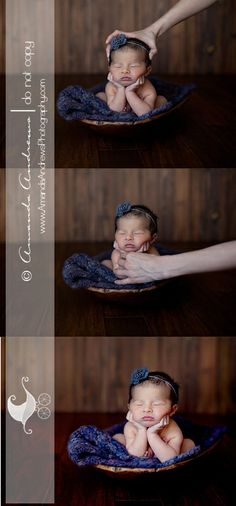 newborn baby photography :: chin on hands composite