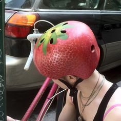 """Strawberry Bike Helmet"" Nice Helmet to ride your fixie ! Bicycle Art, Bicycle Design, Tweed Ride, Helmet Head, Bike Poster, Bike Chain, Cool Gifts, Tech Accessories, Hand Painted"